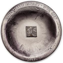 Chondrite Impact Meteorite -Antique finish Silver Coin 5$ Cook Islands 2015