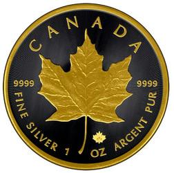 1 oz. Silver Maple Leaf - Gold Black Empire Edition coin 2015 Canada