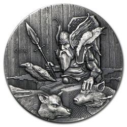 Viking Series~ODIN~ Rimless Antique Silver 2 oz Niue 2015