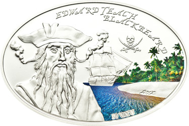 BLACKBEARD Edward Teach Famous Pirates Silver Coin 50 Vatu Vanuatu 2012