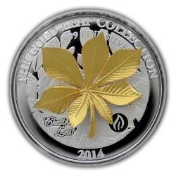 The Gold Leaf Collection - Chesnut Leaf 3D $10 1oz Silver Coin - Samoa 2015