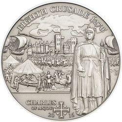 8th. Crusade Charles of Anjou Silver Coin 5$ Cook Islands 2016