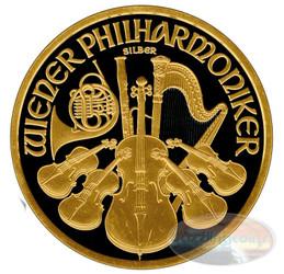 Vienna Philharmonic Gold Black Empire Coin - 2016 Austria 1.5 Euro 1 Oz Silver