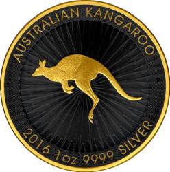 Kangaroo  Gold Black  Edition  Coin  silver .9999  Australia 2016