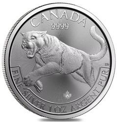 2016 Canadian Cougar Predator Series 1 oz Silver $5  Coins