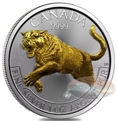 2016 Cougar  Canada Predator Series-24K gold Gilded 1 oz .9999 Silver $5
