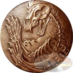 2015 ZODIAC Leo MEMENTO MORI Rimless HR Antique Copper 1oz