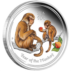 YEAR of the MONKEY -  2016 1 oz Pure Silver Color Coin