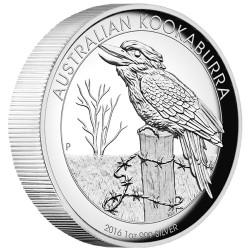 AUSTRALIAN KOOKABURRA - 2016 1 oz Pure Silver Proof High Relief Coin