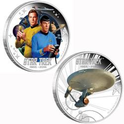 Original STAR TREK 1 oz Silver 2 Coins- KIRK- SPOCK & U.S.S. ENTERPRISE NCC-1701
