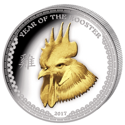 2017 Palau 1 Oz .999 Silver Year of the Rooster $5 Gilded HR Coin