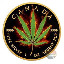 2018 Maple Leaf Burning Marijuana-Sativa 1oz Silver Coin