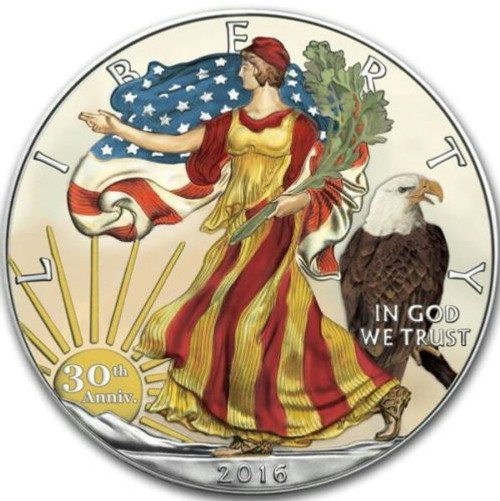 30th. Anniversary 1 oz 999 Silver Flag Colorized and Gold Gilded American Eagle Coin