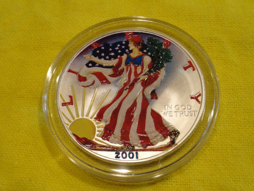 YING YANG WATER AND FIRE  1oz  Silver Eagle Gold Gilded Colorized Coin 2019