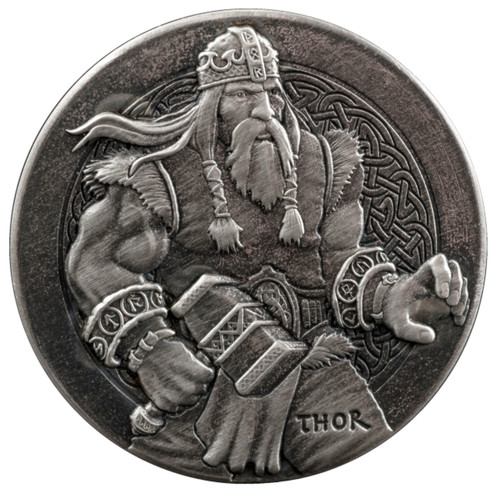 Viking Series -THOR - 2 oz .999 Silver Antique  Coin Niue 2016