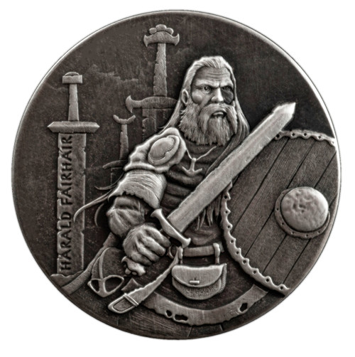 Viking Series -HARALD FAIRHAIR - 2 oz Silver Antique Silver Coin Niue 2016