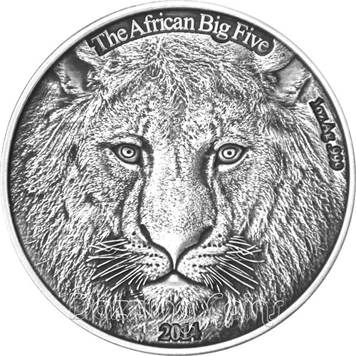 2014 AFRICAN BIG FIVE - LION - Burkina Faso 1oz Silver Antique Finish Coin