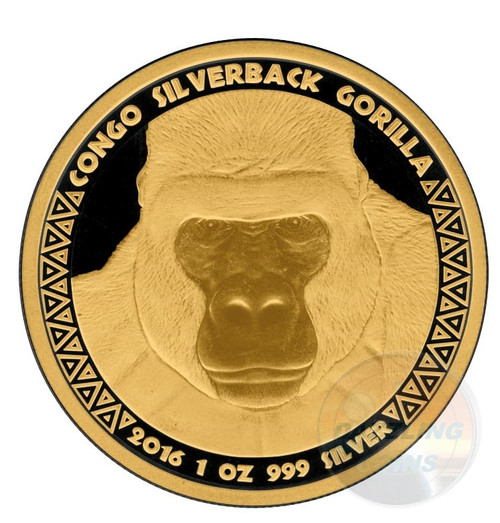 Gold Black Empire  Silverback Gorilla 1 oz .999  Silver Coin 2016 Congo