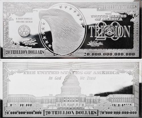 $20 Trillion Silver Bar 4 oz Bars USA 2016