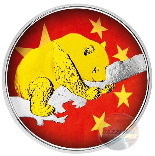 CHINESE FLAG Panda - 30 g Silver Color & 24K Gold 10 Y China 2016