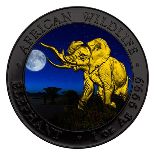 2016 1 oz Fine Silver Elephant Somalia Antique Finish NEW