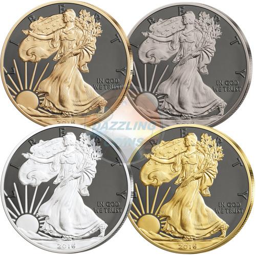 WALKING LIBERTY Prestige Set 4x 1 Oz Silver Eagle Coin 1$ USA 2016