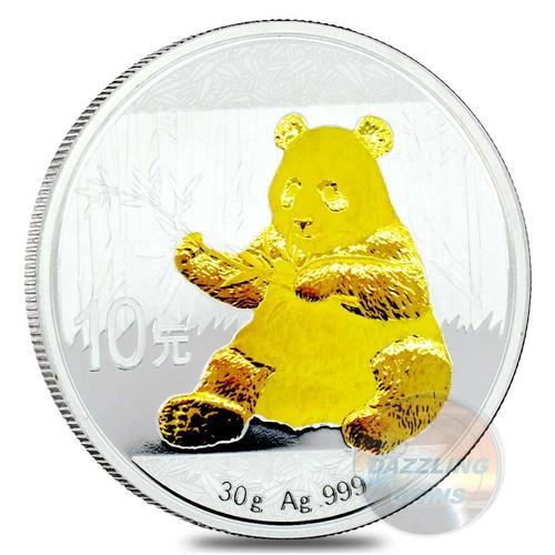 10 Y Panda Silver 24 K Gold Gilded China 2017
