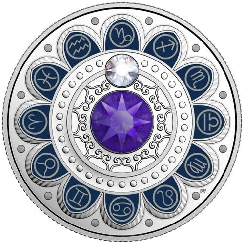 CAPRICORN Zodiac $3 Silver Proof  two Swarovski Crystals 2017 Canada