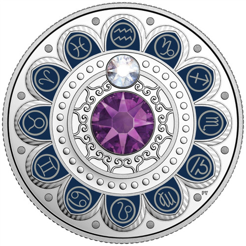 AQUARIUS Zodiac $3 Silver Proof two Swarovski Crystals 2017 Canada