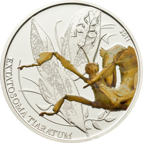 Walking Leaf - Amazing Insect - $2 Palau 2011 Silver Proof Coin