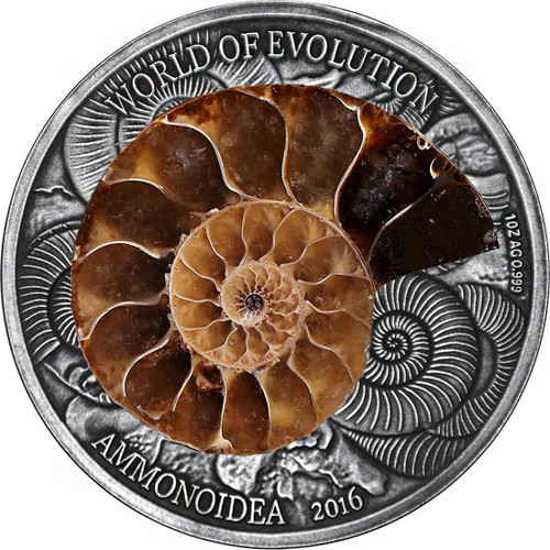 AMMONITE World of Evolution 1 Oz Silver Coin 1000 Fr Burkina Faso 2016
