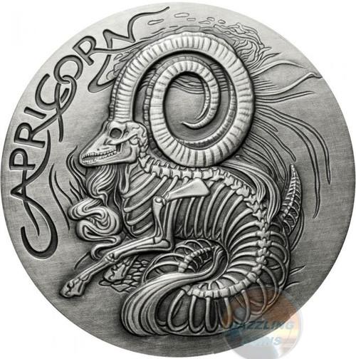 Capricorn Memento Mori Zodiac Skull Horoscope Silver 1 oz Coin High Relief