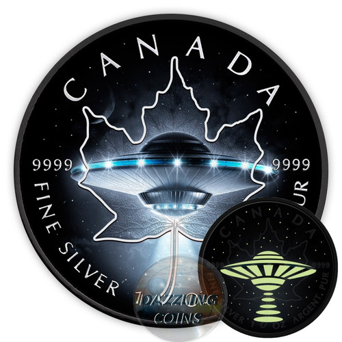 UFO MAPLE LEAF - Glow in the Dark $5 Silver Coin 1 oz Canada 2017