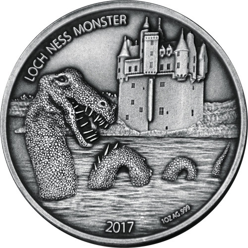 LOCH NESS MONSTER 1 Oz Silver Coin 1000 Francs Burkina Faso 2017