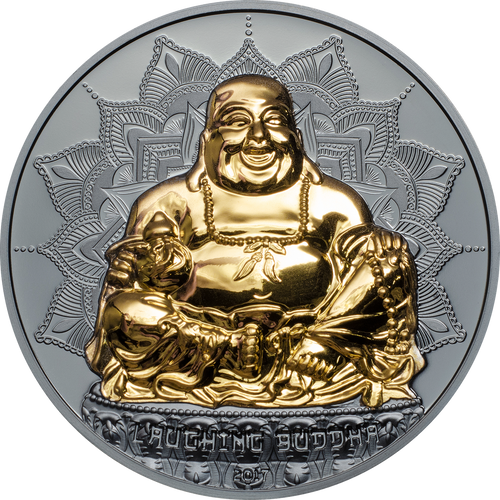 LAUGHING BUDDHA Gold plated 2 Oz Silver Coin 10$ Palau 2017