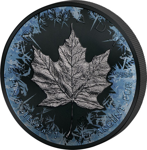MAPLE LEAF Deep Frozen 1oz Silver & Ruthenium & Platinum Plated Coin - Canada 2017
