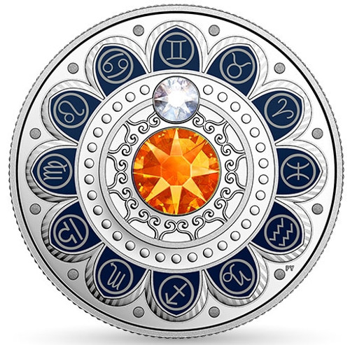 GEMINI Zodiac $3 Silver Proof two Swarovski Crystals 2017 Canada