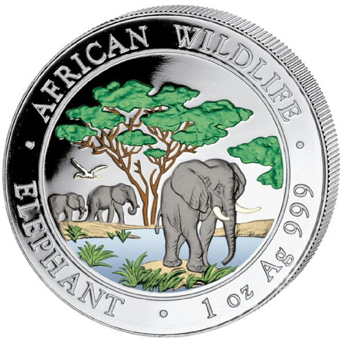 2012 1 oz Color Silver Elephant Coin - 100 Shillings Somalia