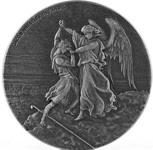 JACOB wrestles with ANGEL Biblical Series 2 oz Silver Coin Niue 2017