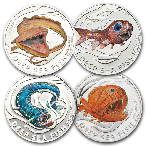 DEEP SEA Fish 4-Coin Silver Proof Set 2010-2013 Pitcairn Islands