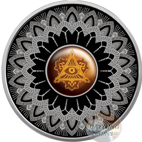 EYE OF PROVIDENCE Amber Silver Coin 1$ Niue 2017