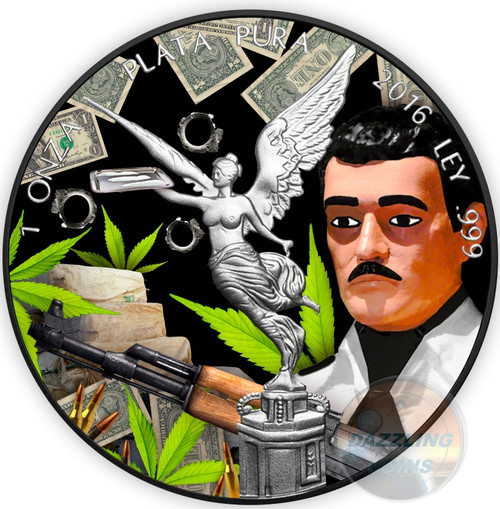 JESUS MALVERDE Liberty Black Ruthenium 1 Oz Silver Coin Mexico 2016