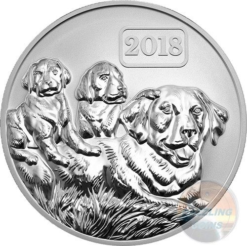 YEAR OF THE DOG DOG FAMILY 1 oz Silver Reverse Proof Coin Tokelau 2018