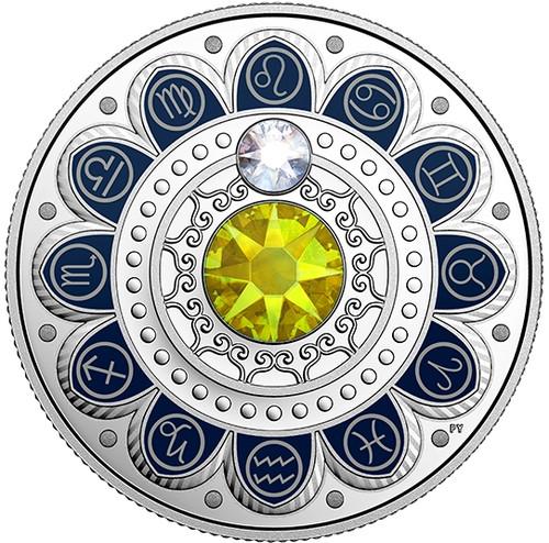LEO Zodiac $3 Silver Proof two Swarovski Crystals 2017 Canada
