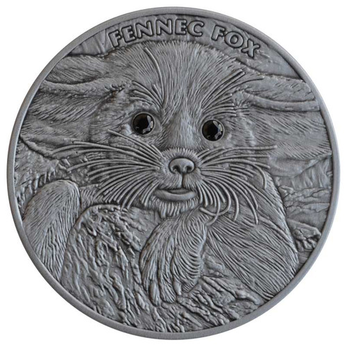 FENNEC FOX high relief silver Swarovski eyes 1 oz Ag.999 Niue 2013