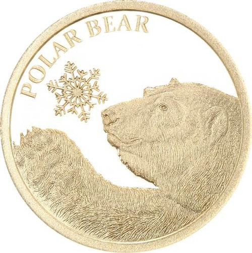 POLAR BEAR  - SNOWFLAKE BEAR 0.5G PURE GOLD COIN TOKELAU 2017