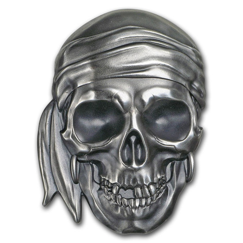 PIRATE SKULL Shape 1 Oz Silver Coin 5$ Palau 2017