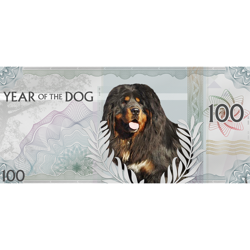 YEAR of the DOG Pure Foil Silver Bank Note 100 Togrog 2018 Mongolia