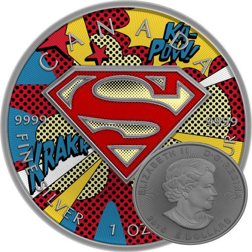 SUPERMAN POP ART - 2016 Canadian 1 oz Pure Silver Coin - Color & Antique Finish