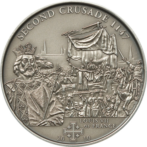2nd.Crusade: Louis VII of France Silver Coin 5$ Cook Islands 2009